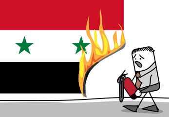 Incendie sur le drapeau de la Syrie