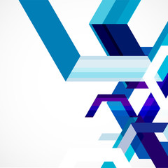 Modern blue geometrical abstract template, vector illustration