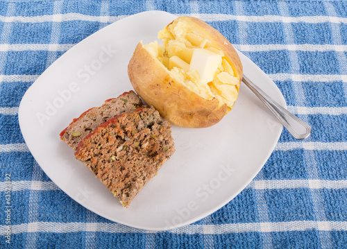 Meatloaf and Baked Potato on White Plate