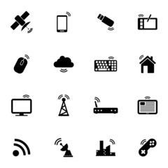 Vector black wireless icons set