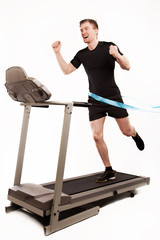 man trains on a treadmill