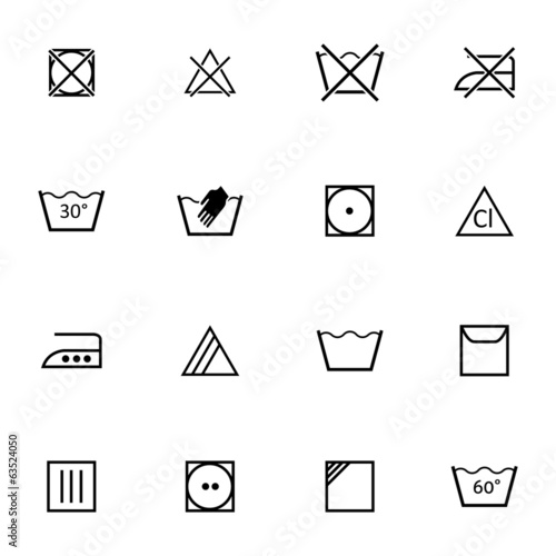 Vector black  washing    icons set