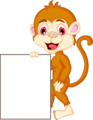 monkey cartoon holding blank sign