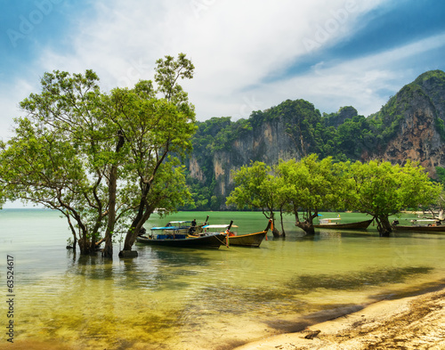 Traditional thai boats. Krabi province, Thailand
