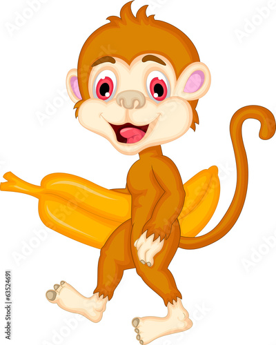 cartoon monkey holdng banana