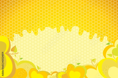 Background with apples and honey