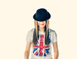 Blonde weared union jack t-shirt and bowler hat