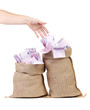 Hand to sacks with euro bills