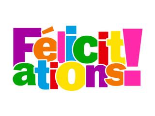 """Mosaïque de Lettres """"FELICITATIONS!"""" (carte voeux bravo message)"""