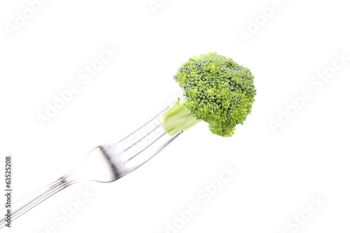 Fresh broccoli on a fork