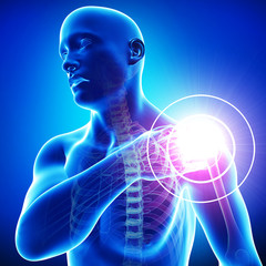 Anatomy of male Shoulder pain in blue