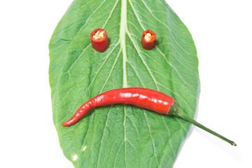Leaf and chili, scowl