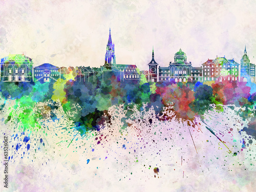 Bern skyline in watercolor background - 63526067