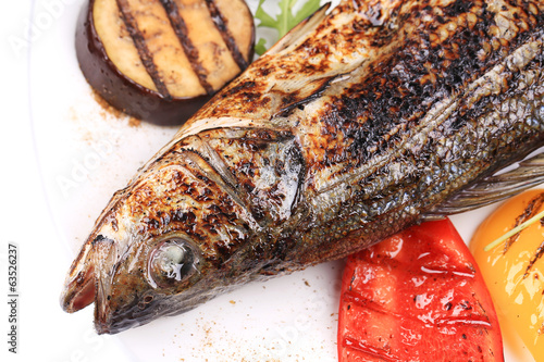 Grilled fish with eggplant.