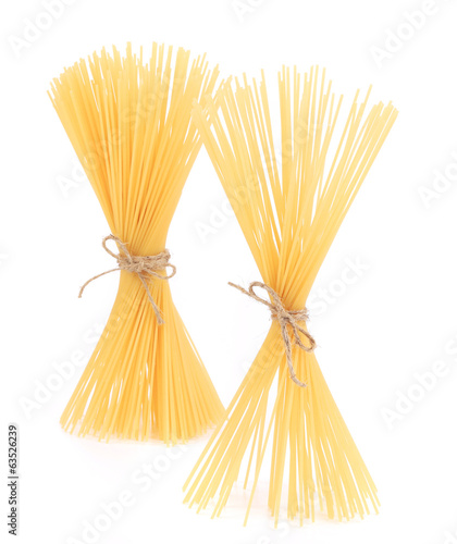 Pasta tied up by a rope.