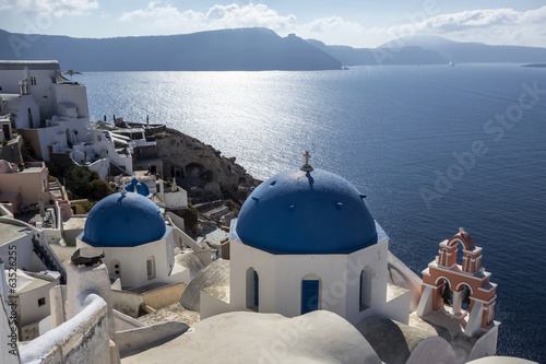 Blue and white church of Oia village ,Santorini