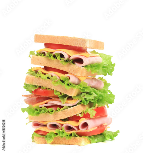 Big tasty sandwich with ham.