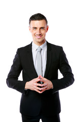 Professional businessman standing on a white background