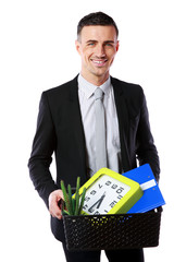Smiling businessman hold box with personal belongings