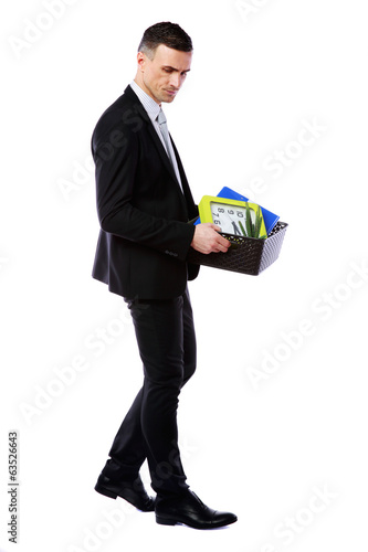 Businessman hold box with personal belongings