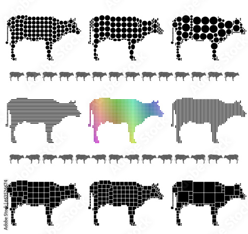 Cow silhouette mosaic set