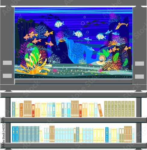 Aquarium with marine fishes and bookshelf