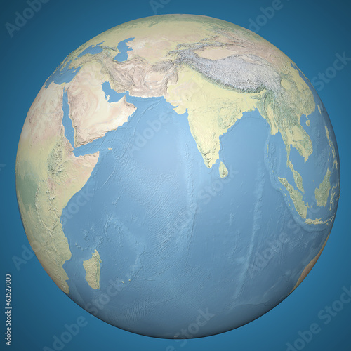 Mondo terra globo Asia India, mappa in rilievo