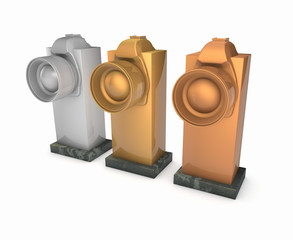 Gold, silver and bronze awards 3d