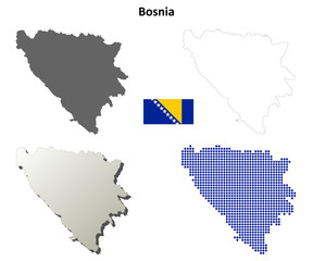 Blank detailed contour maps of Bosnia and Herzegovina