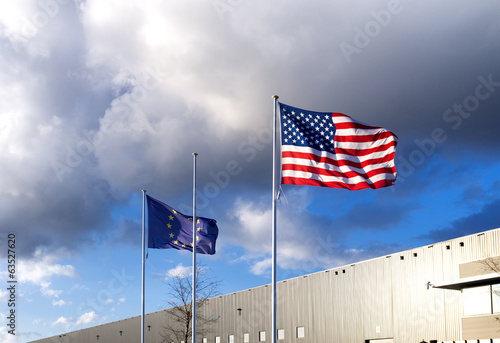 american and eu flag