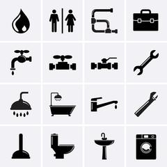 Plumbing Icons. Vector