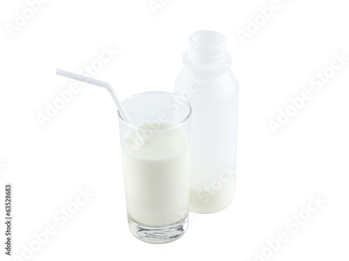 Glass and bootle of milk