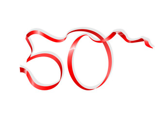 red ribbon in the shape of number fifty
