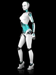 Sexy robot woman posing.