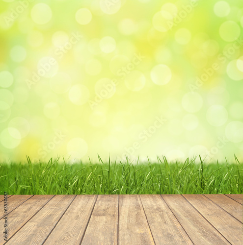 canvas print picture Bokeh Background Springtime / Wood / Lawn