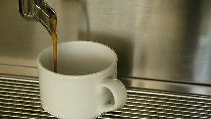 Preparation of espresso coffee on machine