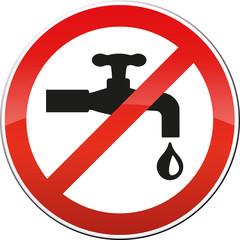 Schild Verbot tropfender Wasserhahn