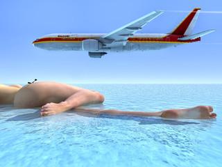 avion y playa