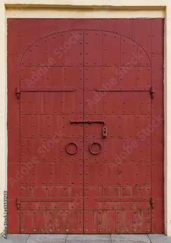 metal door with rivets