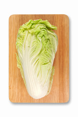 fresh chinese cabbage on cutting board on white Isolated.