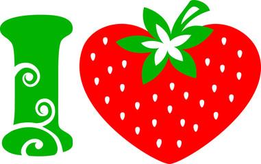 Erdbeer Herz - I Love  - Vektor