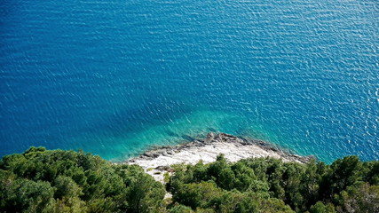 Aerial view at mediterranean coast with pine trees