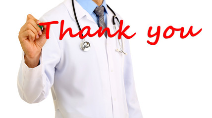 Doctor writing Thank you on transparent board
