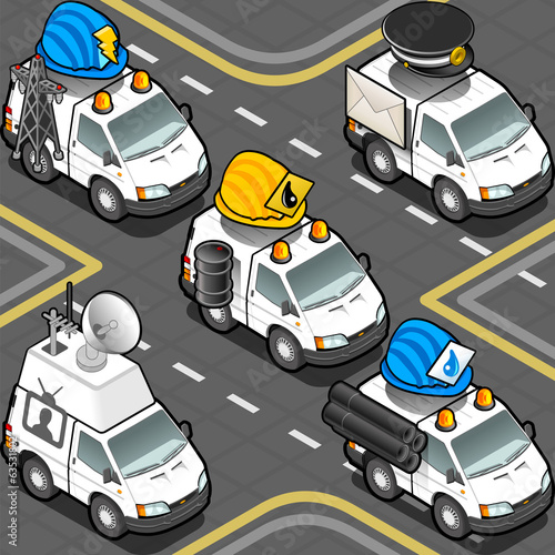 Isometric Workers Trucks