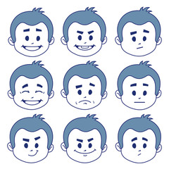 Set of nine facial expressions