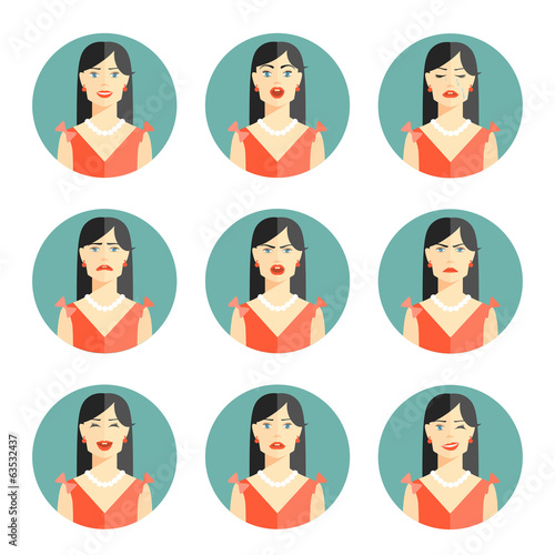 Set of nine different women emotions