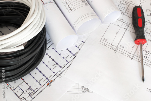 Electrical cable on the construction drawings