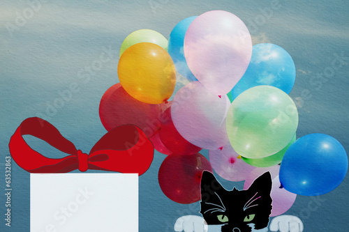 birthday card, drawing a kitten with a gift, balloons in the sky