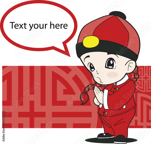 child boy chinese. vector