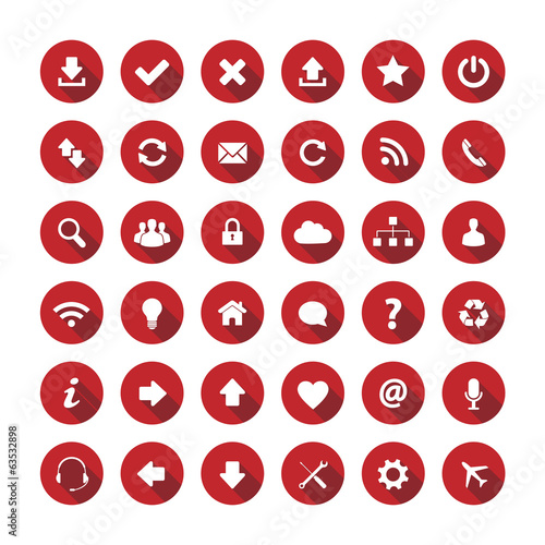 Red long shadow style icons